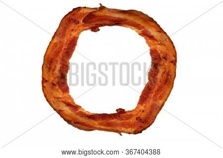 Bacon. Fried Bacon Alphabet. Bacon Letters Isolated on white. Letter O made from fried Pork Belly Strips. Alphabet. Easily copied and used in paste up or projects.