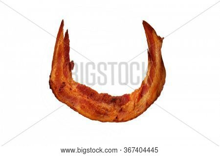 Bacon. Fried Bacon Alphabet. Bacon Letters Isolated on white. Letter U made from fried Pork Belly Strips. Alphabet. Easily copied and used in paste up or projects.