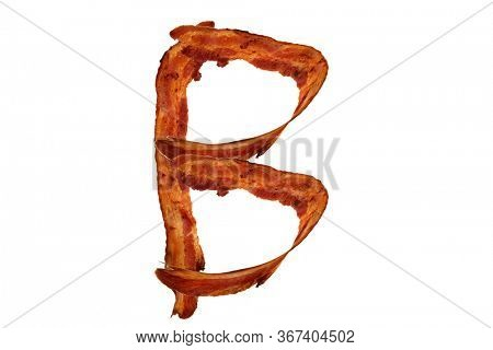 Bacon. Fried Bacon Alphabet. Bacon Letters Isolated on white. Letter B made from fried Pork Belly Strips. Alphabet. Easily copied and used in paste up or projects.