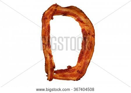 Bacon. Fried Bacon Alphabet. Bacon Letters Isolated on white. Letter D made from fried Pork Belly Strips. Alphabet. Easily copied and used in paste up or projects.