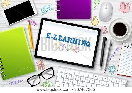 E-learning Online School Vector Banner. E-learning Online Education Text In Mobile Screen With Schoo