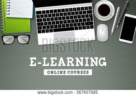 E-learning Online School Vector Background. Elearning Online Courses Text With School Elements And C