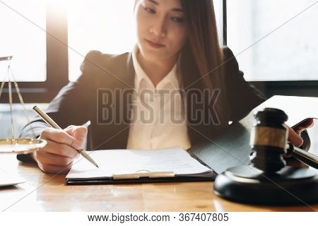 Judge Gavel With Justice Lawyers, Business Woman In Suit Or Lawyer Working
