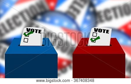 Boxes For Ballot In Election. Usa Election, 3d Rendering