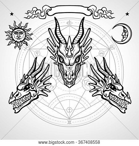 Mystical Drawing: Animation Head Of A Dragon. Symbols Of The Sun And Moon, Vignette, Alchemy Circle