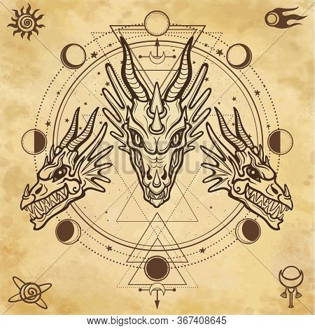 Mystical Drawing: Animation Head Of A Dragon. Space Symbols. Circle Phase Of The Moon. Magic, Esoter