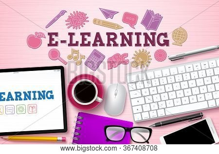 E-learning Online Courses Vector Background. E-learning Text For Woman With Computer Elements And Sc