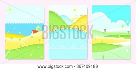Summer Scenery Landscape, Small House On The Hill With Sea, Seaside Small Village With Mountains And