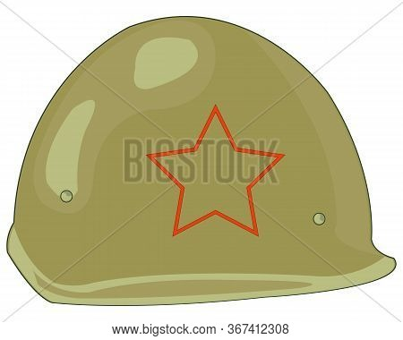 Defensive Helmet Of The Soviet Soldier On White Background Is Insulated
