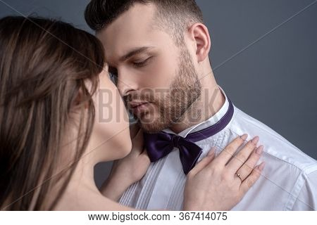 Elegand Couple Kissing. Touching Body Ecstasy And Pleasure. Making Love To Young Lover. Face Sensual