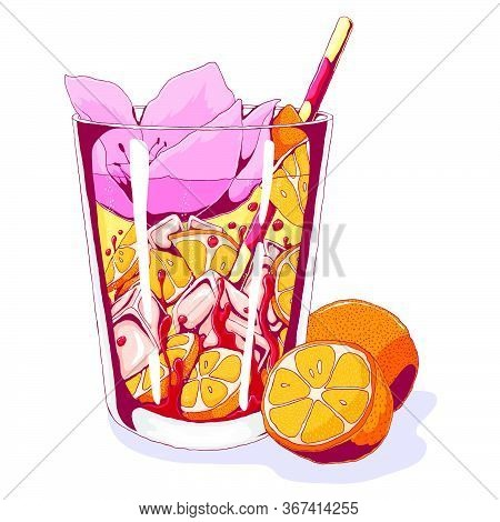 Tequila Sunrise With Orange Fruits And Tropical Flower. Vector Hand Drawn Illustration Of Popular Be