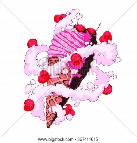 Ice Cream Sundae Wafer Cone With Cherry And Milk Cream With Sliced Berry. Hand Drawn Vector Illustra