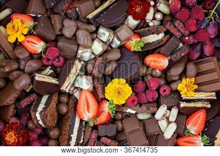 Chocolate Dessert Assortment Including Fruit And Flowers As A Decadent Indulgence Share Platter