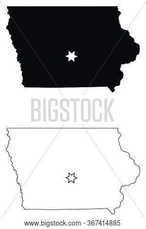 Iowa Ia State Map Usa With Capital City Star At Des Moines. Black Silhouette And Outline Isolated On