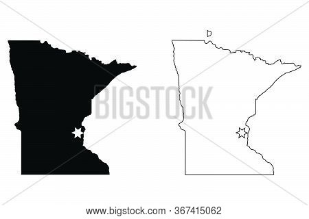 Minnesota Mn State Map Usa With Capital City Star At Saint Paul. Black Silhouette And Outline Isolat