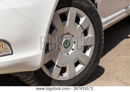 Novosibirsk/ Russia - May 03 2020: Scoda Octavia,close-up Of The Alloy Wheel. Photography Of A Moder