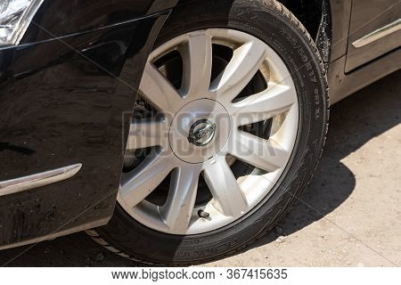 Novosibirsk/ Russia - May 03 2020: Nissan Teana,close-up Of The Alloy Wheel. Photography Of A Modern