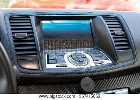 Novosibirsk/ Russia - May 03 2020: Nissan Teana, A Close Up On A Black Panel With Radio,  Player And