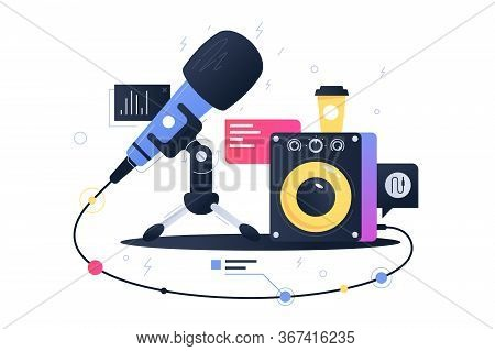 Modern Technology Icon Of Microphone Connecting With Subwoofer Speaker. Concept Symbol Device For Re