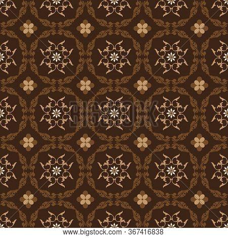 Beautiful Floral Motifs On Parang Batik With Simple Dark Brown Color Design