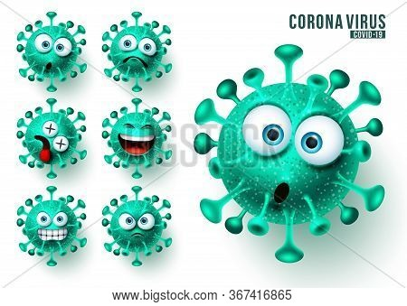 Covid19 Ncov Emojis Vector Set. Corona Virus Covid19 Emojis And Emoticons With Scary And Angry Facia