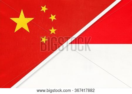 People's Republic Of China Or Prc And Indonesia National Flag From Textile. Relationship, Partnershi