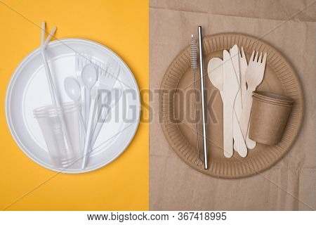 Plastic Vs Sustainable Dinnerware Choice Concept. Top Above Overhead View Photo Of White Plastic And