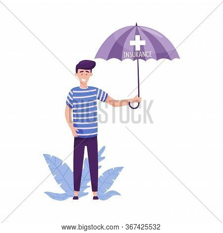 Young Man Standing And Holding Umbrella With Floral Leaves Behind Her Vector Illustration