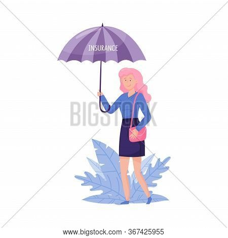 Young Woman Walking And Holding Umbrella With Floral Leaves Behind Her Vector Illustration