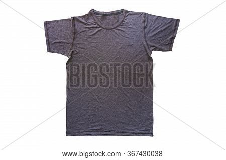 Gray Tshirt Template Ready For Your Own Graphics, T-shirt Design Fashion Concept, Closeup Of Man And