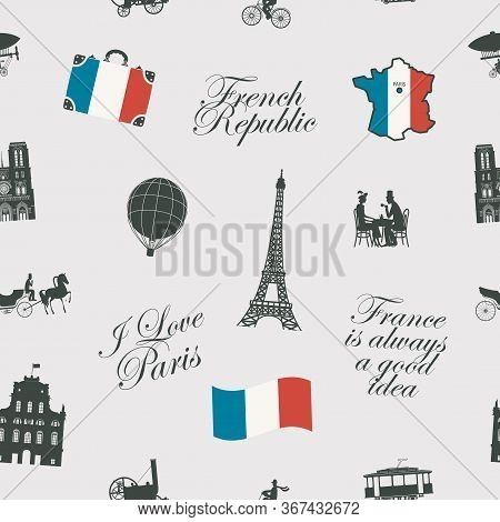 Vector Seamless Pattern On France And Paris Theme With Calligraphic Inscriptions, Landmarks, Flag An