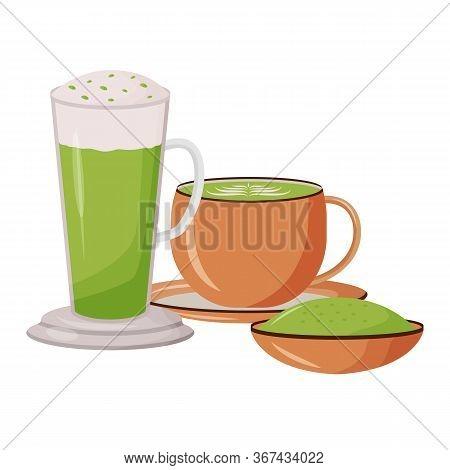 Matcha Latte Cartoon Vector Illustration. Glass Tall Mug. Bamboo Powder On Soucer. Cafeteria Menu. G