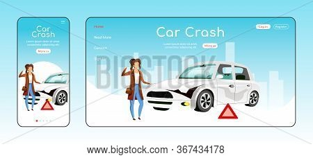 Car Crash Responsive Landing Page Flat Vector Template. Emergency Situation Help Homepage Layout. On