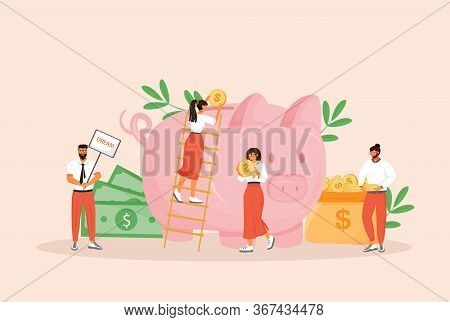 Money Saving Flat Concept Vector Illustration. Men And Women Planning Budget 2d Cartoon Characters F