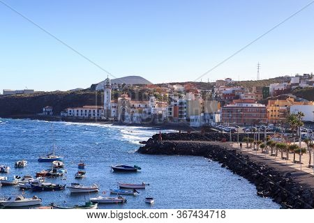Coastline And Port Of Town Candelaria Panorama With Atlantic Ocean On Canary Island Tenerife, Spain
