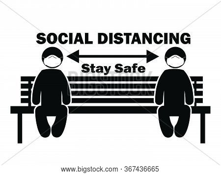 Social Distancing Stay Safe Stick Figure With Mask On Bench. Illustration Arrow Depicting Social Dis