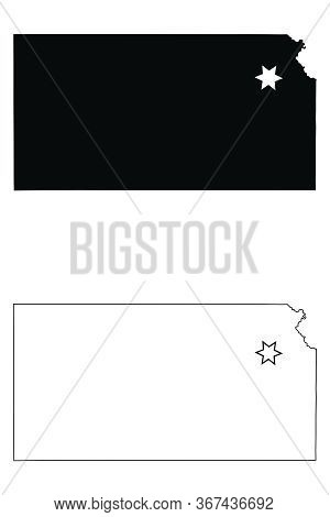 Kansas Ks State Maps With Capital City Star At Topeka. Black Silhouette And Outline Isolated On A Wh