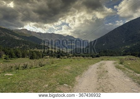 Road To Montgarri During A Sunrise, Valle De Aran