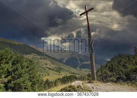 Christian Cross On The Road To Montgarri From The Valley Of Aran