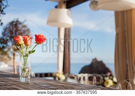 Outdoor Summer Terrace In A Cafe By The Sea.