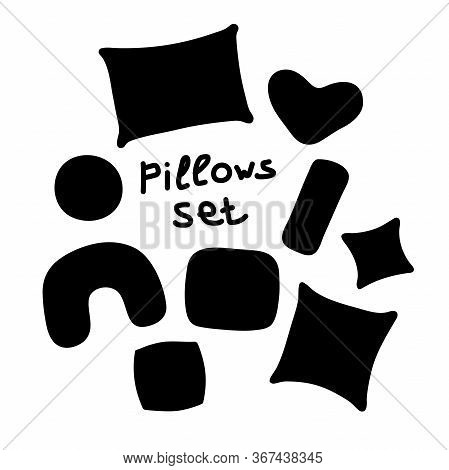 Scandinavian Style Pillows Set. Pillows Different Silhouettes With Lettering Image. Cute Home Decora