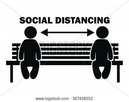 Social Distancing Stick Figure With Mask On Bench. Illustration Arrow Depicting Social Distancing Gu