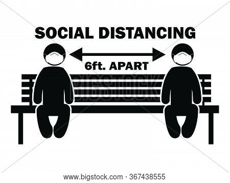 Social Distancing 6 Ft. Apart Stick Figure With Mask On Bench. Illustration Arrow Depicting Social D