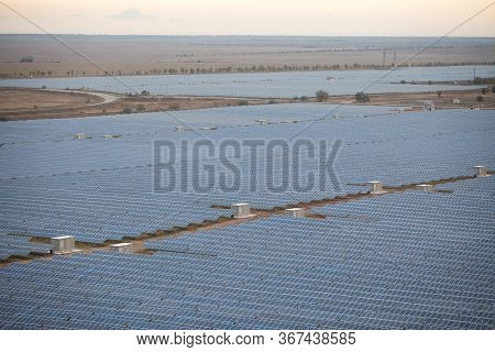 Network Industrial Solar Photovoltaic Stations. View From Above.