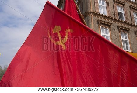 Red Hammer And Sickle Flag, Symbol For The Communist Movement