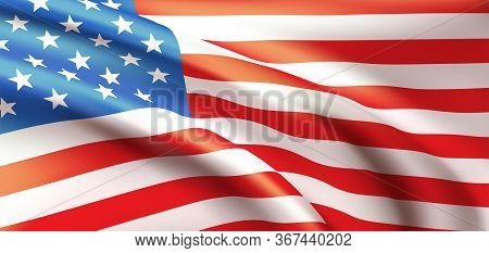 Background Waving In The Wind American Flag. Background For Patriotic National Design. Vector Illust