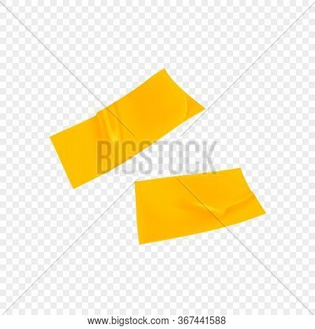 Yellow Duct Repair Tape Isolated On Transparent Background. Realistic Yellow Adhesive Tape Piece For