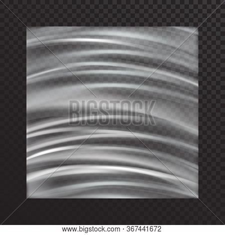 Vector Realistic Transparent Stretched Film On A Translucent Dark Background.polyethylene Tape With