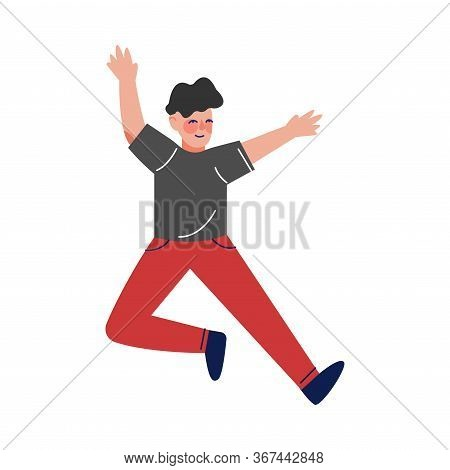Teen Boy In Casual Clothes Happily Jumping, Excited Schoolboy Having Fun Vector Illustration