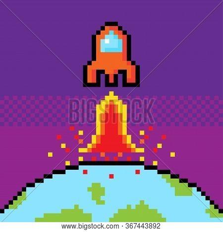 Orange Spacecraft Start Up From World To Space